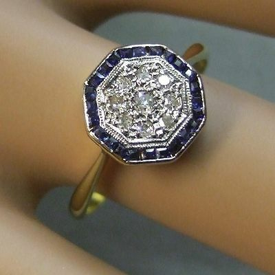 18ct gold second hand victorian diamond & sapphire cluster ring