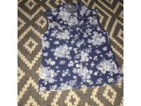 Age 8 | Denim waistcoat | Blue floral