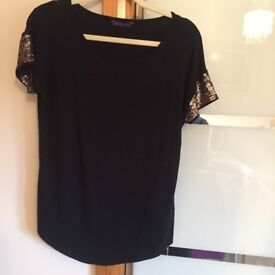 Black Top with gold beaded sleeves, size 10/12