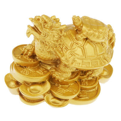 Luck Feng Shui Dragon Tortoise Statue w/Baby Turtle Home Office Decor Golden
