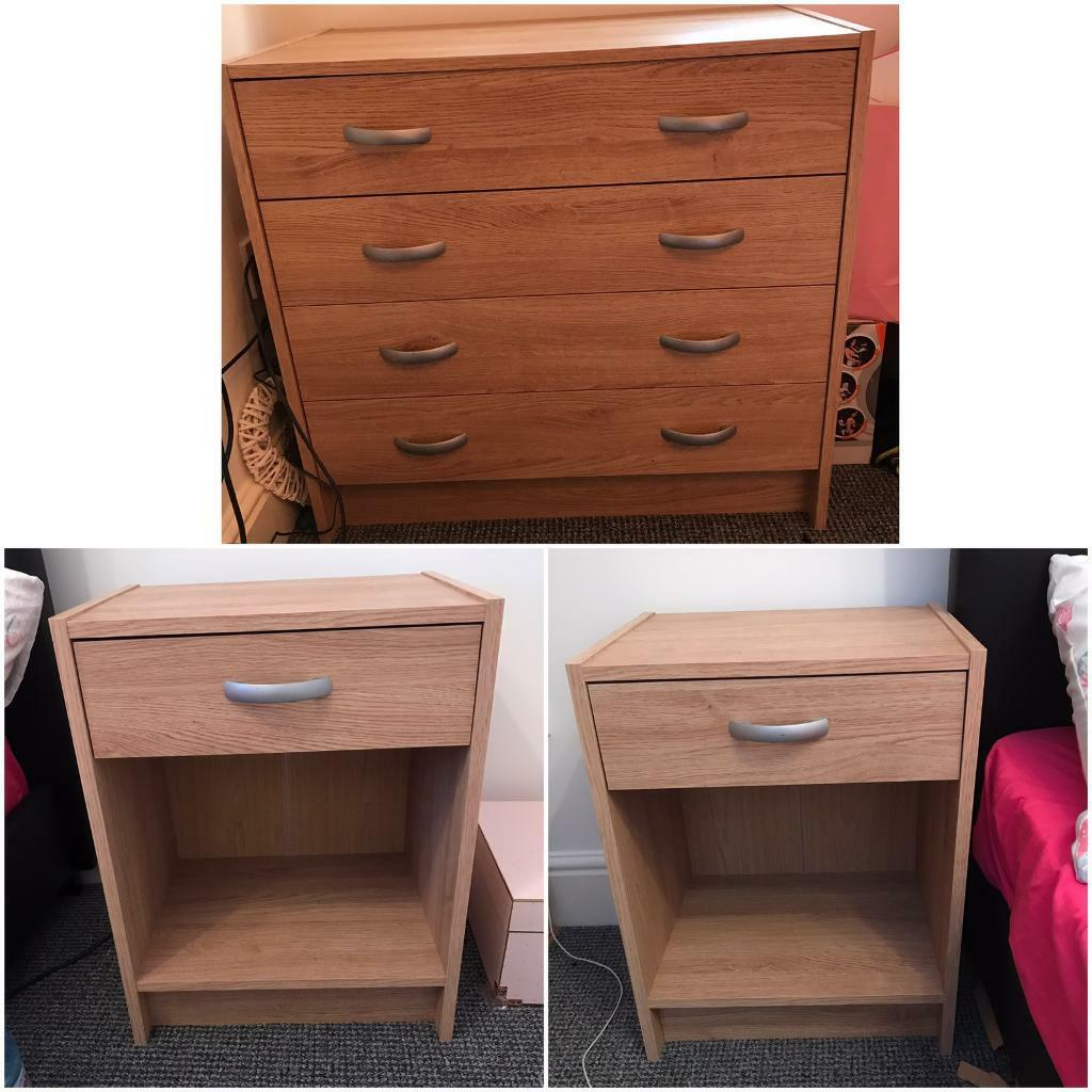 Chest of drawer and two bedsides