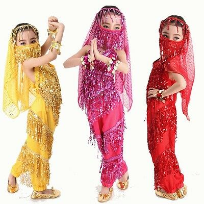 Belly Dance Costume For Kids (S-XXL KID's Belly Dance Costume Danse Shiny Sequins Metal Coin for Girl)