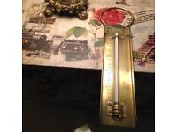 Three antique brass items, in lovely condition 2 scales one thermometer