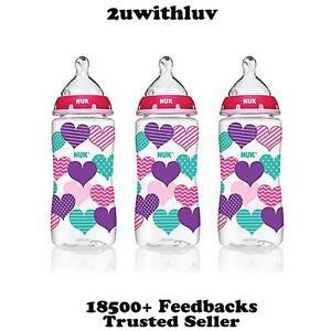 3 X NUK HEARTS FASHION ORTHODONTIC BABY BOTTLE 10 OZ 300ML BPA FREE