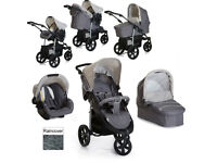 EXDISPLAY HAUCK VIPER TRIO SET GREY TRAVEL SYSTEM PRAM PUSHCHAIR 3 WHEELER CAR SEAT FROM BIRTH