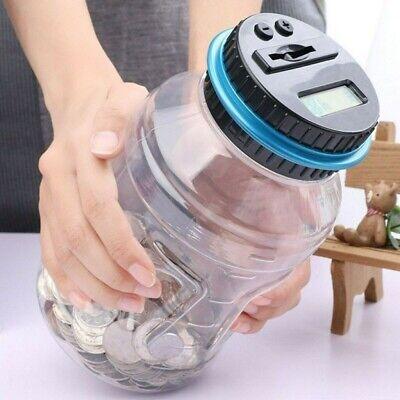 1.8L Digital Piggy Bank Coin Saving Box USD Auto Counting Money Jar Xmas -