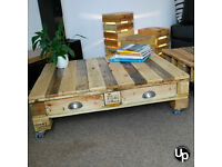 Reclaimed Wood Coffee Table with drawers on 50mm castors.