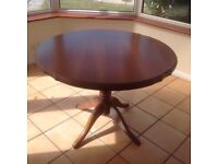 Teak round extending table + six chairs superb condition