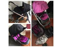 Babystyle Oyster Pushchair and Car Seat. Purple. RRP £500
