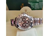 New Mens bagged and boxed silver bracelet with silver face Rolex Daytona automatic with sweeping mov