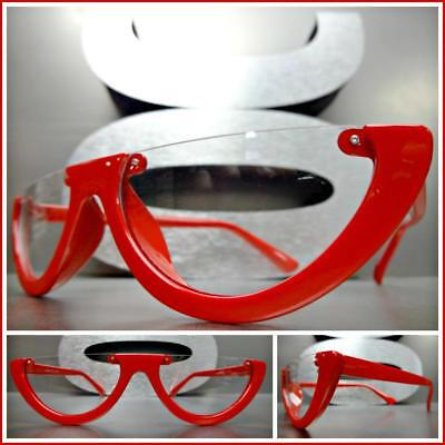 Classy Elegant Luxury Retro Style Clear Lens EYE GLASSES Half Cut Off Red Frame](Red Glasses Frames)