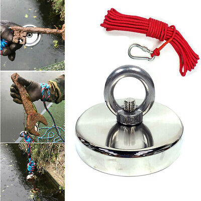 400lbs Fishing Magnet Kit Pull Force Strong Neodymium With Rope Carabiner