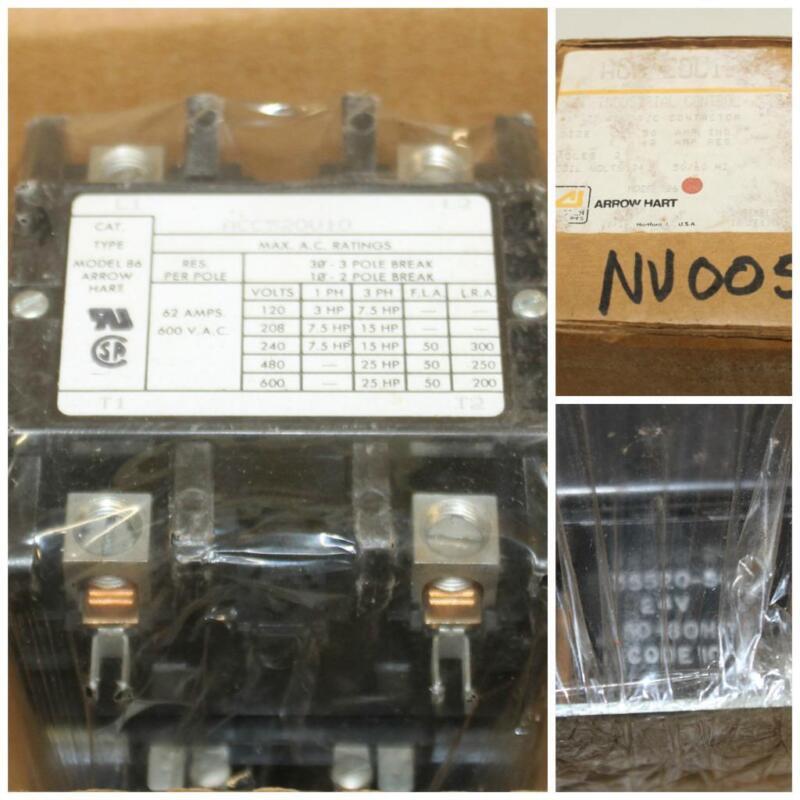 Arrow Hart NOS Model 86 Contactor ACC52OU10 2 Pole 50A 7.5 HP 600 VAC 24V Coil