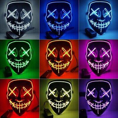 LED Glühend leuchtet EL Wire Horror Maske Purge Clownmaske Halloween Zombie Mask