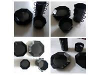 Midnight black kitchen set x10 plates/soup bowls