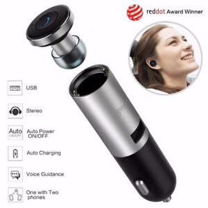 XP01 Tzumi 2 in 1 Mini Wireless Bluetooth Earbud USB Headphone Car Charger / Adapter Headset Hands-Free earphones Mic