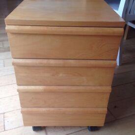 IKEA Birch Veneer Bedside Table/Office Storage on Castors