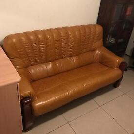 Leather sofa suite tan biscuit chocolate brown retro