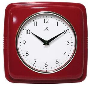 Sleek Retro Red Wall Clock Vintage Style Kitchen Clocks Convex Glass Lens