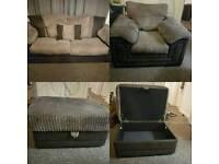 Three seater sofa, armchair and storage footstool set