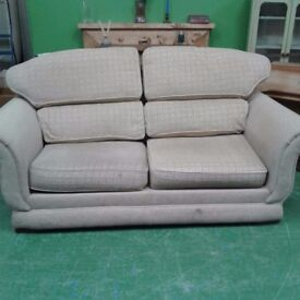 Cream Checkered 2 Seat Sofa
