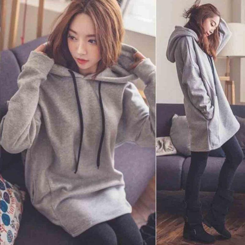 Women Long Sleeve Sweater Hoodies Oversize Jumper Hooded Pullover Tops Outwear