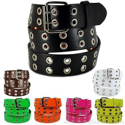 - Double Grommet Holes Leather Belt 2-Row Studded Removable Buckle Unisex Womens