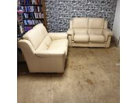 2x Two Seater Cream Leather Sofas