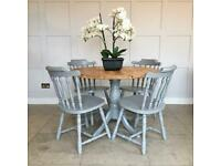 Round Kitchen Dining Table & 4 Chairs Sprayed F&B Moles Breath 105cm Can Deliver