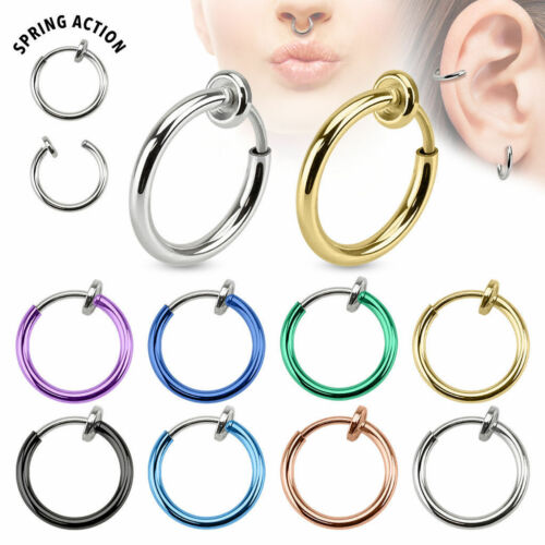 2PCS Punk Fake Clip-On Non-Piercing Septum Nose Lip Cartilage Hoop Ring