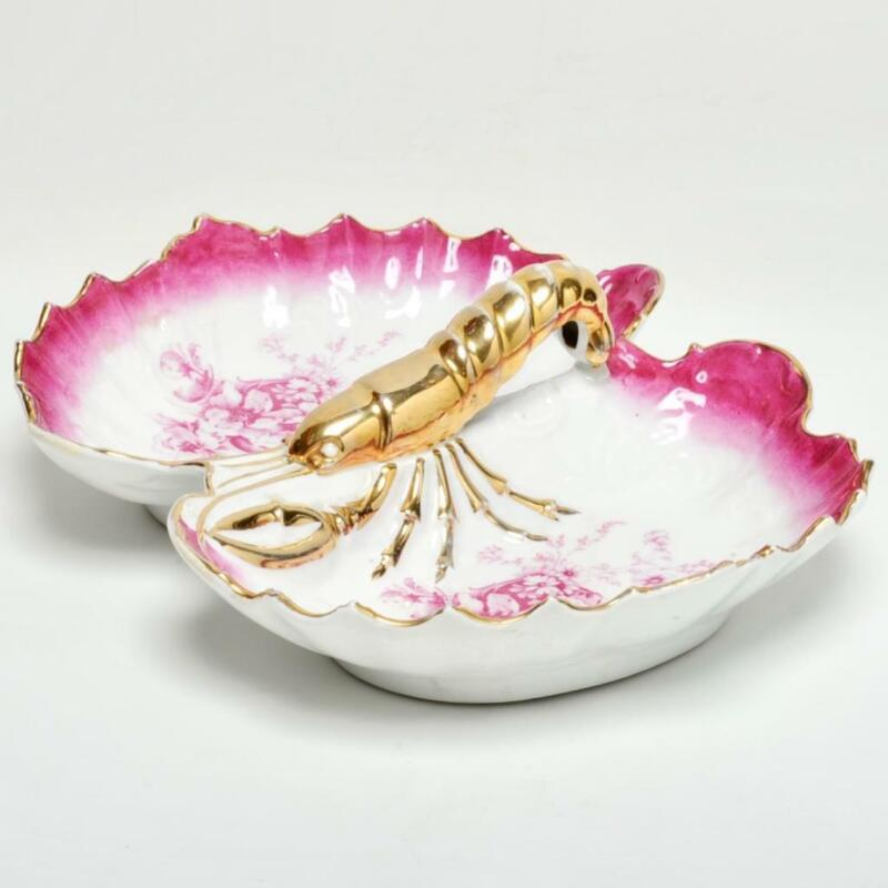 VICTORIAN CONTINENTAL PORCELAIN DIVIDED DISH WITH FIGURAL GOLD GILT LOBSTER