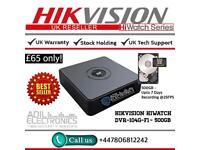 Hikvison HiWatch 4 Channel Turbo-HD TVI Cube DVR-104G-F1 - 500GB HDD