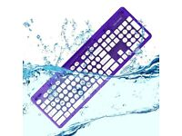 Boxed wireless keyboard waterproof, new ROCK CANDY Cosmoberry, MAC WINDOWS PC IPAD desk chair table