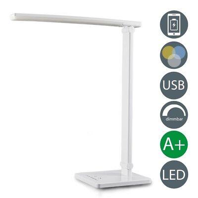 LED Tischlampe weiß dimmbar USB Leselampe Tisch-Leuchte Schreibtisch-Lampe