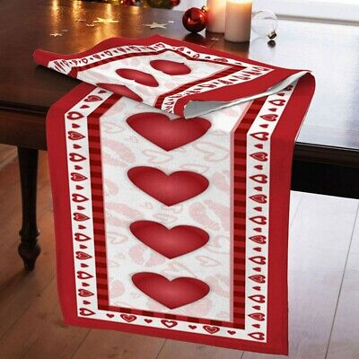 72inch Red Heart Table Runner Decor Tablecloth Dresser Valentine Party Ornament