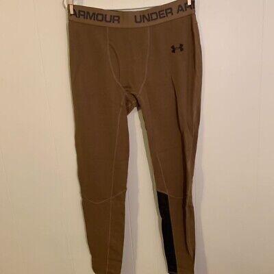 Under Armour Mens ColdGear Leggings Brown Elastic Waist Base Layer Wool XL New Under Armour Mens Coldgear Leggings