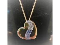 9ct Gold & Diamonds Silver Heart Pendant ~ NEW