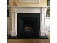 Regency style marble mantelpiece with cast iron fire surround/insert and granite hearth