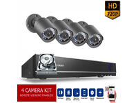 HD CCTV Security Camera Kit. 4 x HD Cameras , HD 8 Channel DVR with Hard Drive, Cables, Full Kit.