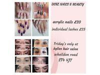 Individual lashes & acrylic nails