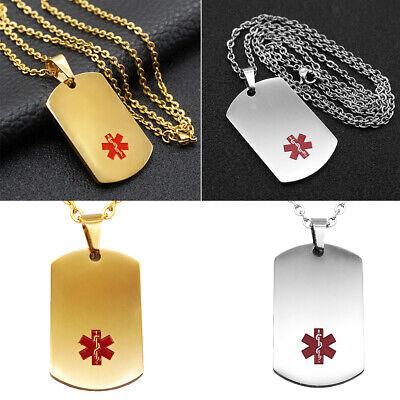 2 Stücke Medical Alert ID Anhänger Halskette Kette Notfall Lebensrettende Id-anhänger-halskette