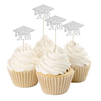 Graduation Cap Cupcake Toppers (20pcs 2018 Graduation Cap Cupcake Picks Cake Toppers Grad Party Decor Silver)