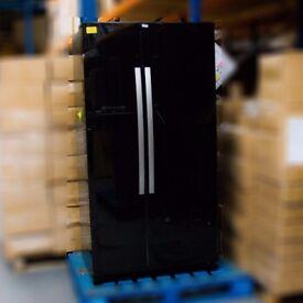 John Lewis JLAFFB2012 American Style Fridge Freezer, Black