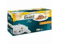 BNIB Purina Gourmet Perle Chef's Collection in Gravy Cat Food Pouches 60 pk