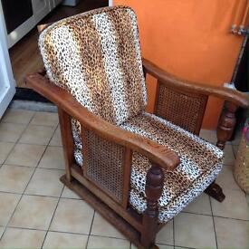 Antique oak colonial style chair animal print fabric