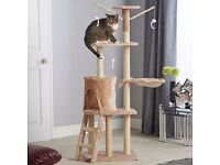 Cat Scratching Post Activity Centre Large Sisal Play Tower in Beige