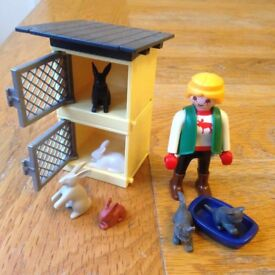 playmobil rabbits, hutch, kittens and figure