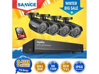 SANNCE 1TB HDD+8CH 1080P HDMI 5IN1 DVR Outdoor CCTV Camera Security System Night