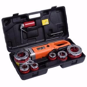 NEW PORTABLE ELECTRIC PIPE THREADER 6 DIES .5-2 IN