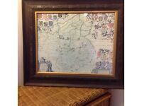 2 old maps of Lincolnshire and suffolkshire, framed and glazed